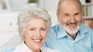 Elder couple smiling image